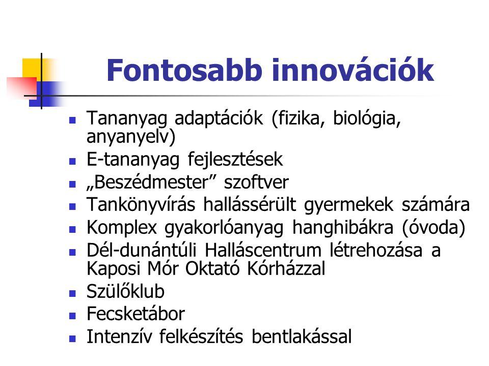 """Fontosabb innovációk  Tananyag adaptációk (fizika, biológia, anyanyelv)  E-tananyag fejlesztések  """"Beszédmester"""" szoftver  Tankönyvírás hallássérü"""