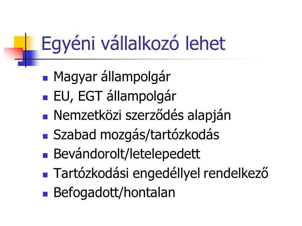 Egyéni vállalkozó lehet  Magyar állampolgár  EU, EGT állampolgár  Nemzetközi szerződés alapján  Szabad mozgás/tartózkodás  Bevándorolt/letelepedett  Tartózkodási engedéllyel rendelkező  Befogadott/hontalan
