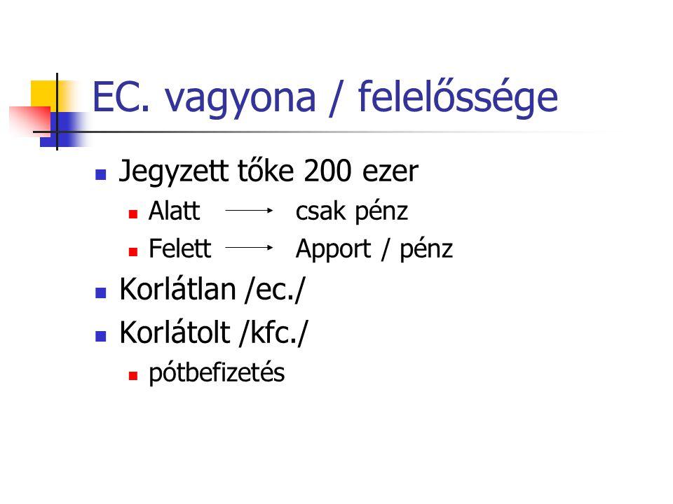 EC. vagyona / felelőssége  Jegyzett tőke 200 ezer  Alattcsak pénz  FelettApport / pénz  Korlátlan /ec./  Korlátolt /kfc./  pótbefizetés