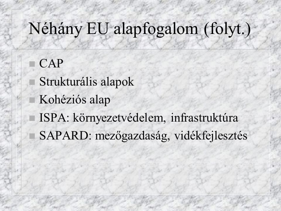 Néhány EU alapfogalom (folyt.) n CAP n Strukturális alapok n Kohéziós alap n ISPA: környezetvédelem, infrastruktúra n SAPARD: mezőgazdaság, vidékfejle