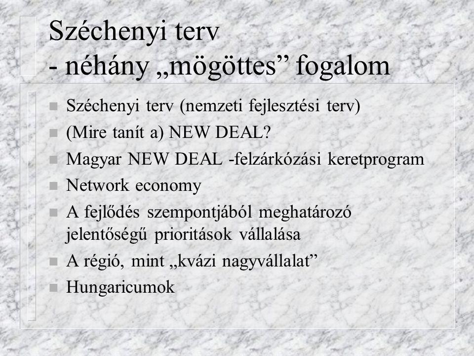 """Széchenyi terv - néhány """"mögöttes"""" fogalom n Széchenyi terv (nemzeti fejlesztési terv) n (Mire tanít a) NEW DEAL? n Magyar NEW DEAL -felzárkózási kere"""