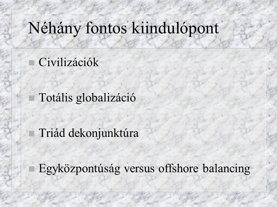 Néhány fontos kiindulópont n Civilizációk n Totális globalizáció n Triád dekonjunktúra n Egyközpontúság versus offshore balancing