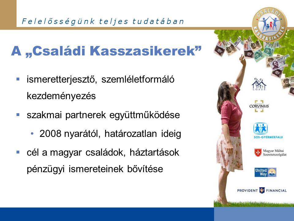 """F e l e l ő s s é g ü n k t e l j e s t u d a t á b a n A """"Családi Kasszasikerek  ismeretterjesztő, szemléletformáló kezdeményezés  szakmai partnerek együttműködése •2008 nyarától, határozatlan ideig  cél a magyar családok, háztartások pénzügyi ismereteinek bővítése"""