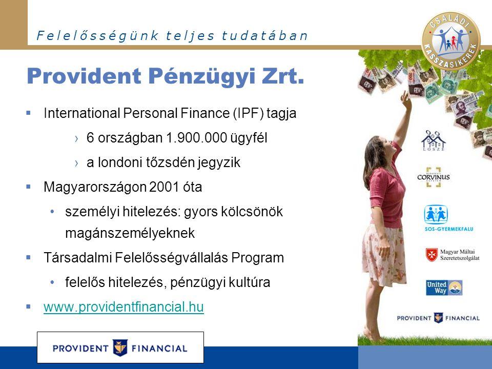 F e l e l ő s s é g ü n k t e l j e s t u d a t á b a n Provident Pénzügyi Zrt.