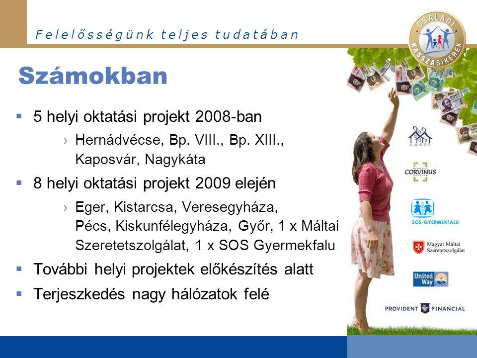 F e l e l ő s s é g ü n k t e l j e s t u d a t á b a n Számokban  5 helyi oktatási projekt 2008-ban ›Hernádvécse, Bp.