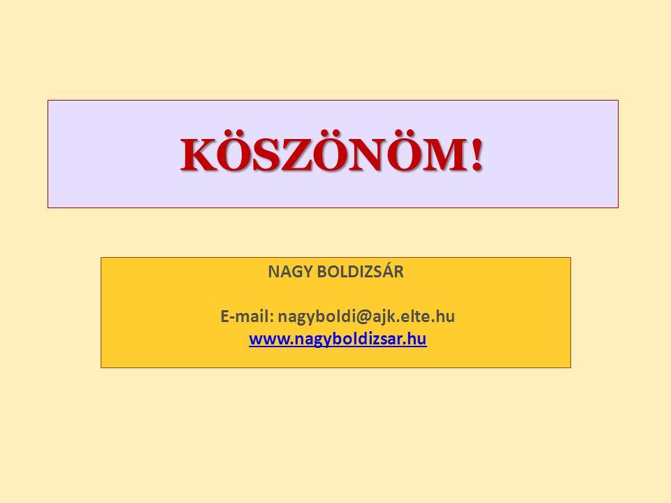 KÖSZÖNÖM! NAGY BOLDIZSÁR E-mail: nagyboldi@ajk.elte.hu www.nagyboldizsar.huwww.nagyboldizsar.hu