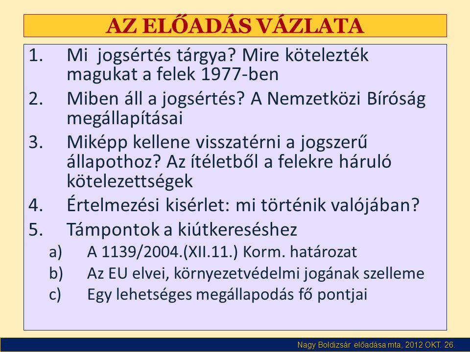 Nagy Boldizsár előadása mta, 2012 OKT. 26. AZ ELŐADÁS VÁZLATA 1.Mi jogsértés tárgya.
