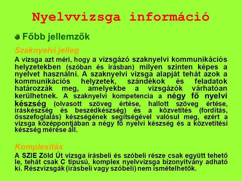 Nyelvvizsga információ Főbb jellemzők Szaknyelvi jelleg A vizsga azt méri, hogy a vizsgázó szaknyelvi kommunikációs helyzetekben (szóban és írásban) m
