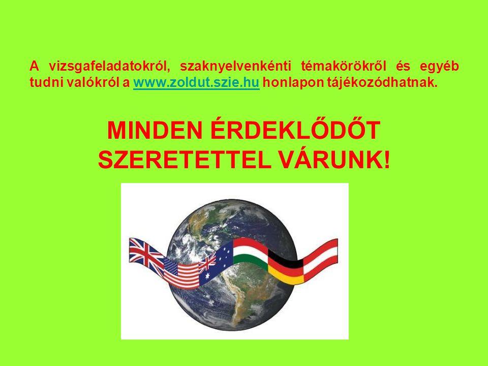 A vizsgafeladatokról, szaknyelvenkénti témakörökről és egyéb tudni valókról a www.zoldut.szie.hu honlapon tájékozódhatnak.www.zoldut.szie.hu MINDEN ÉRDEKLŐDŐT SZERETETTEL VÁRUNK!