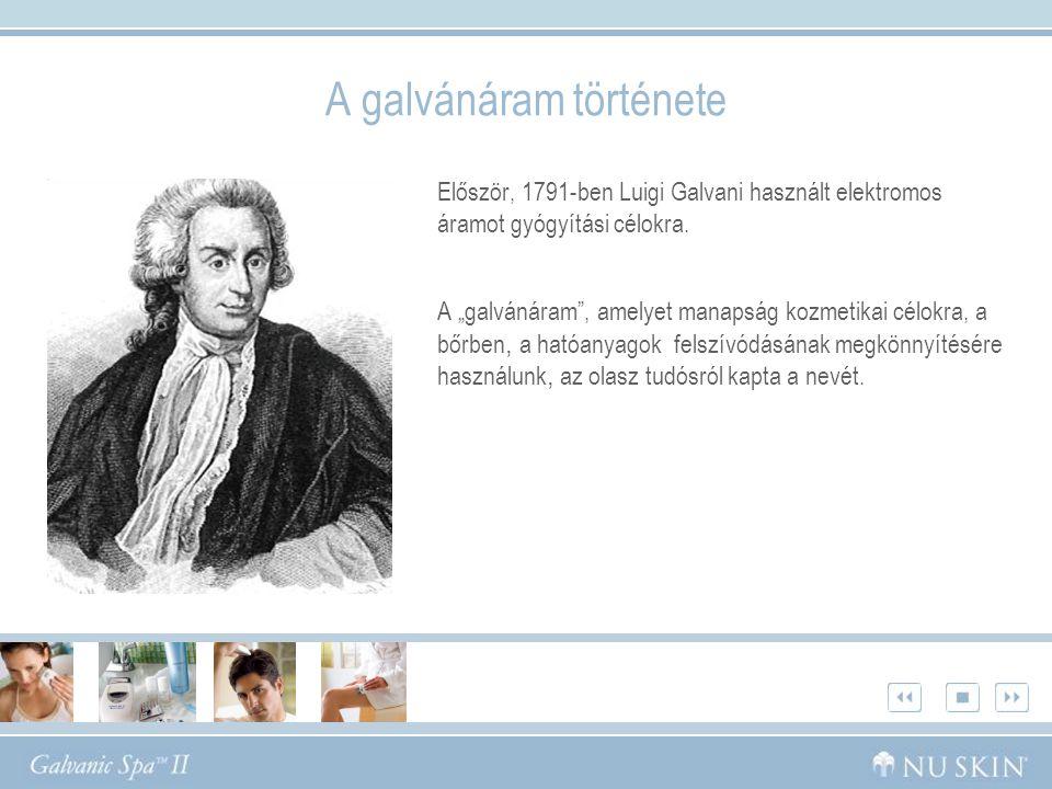 """Először, 1791-ben Luigi Galvani használt elektromos áramot gyógyítási célokra. A """"galvánáram"""", amelyet manapság kozmetikai célokra, a bőrben, a hatóan"""