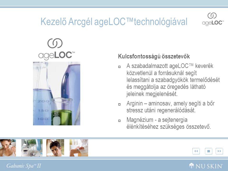 Kezelő Arcgél ageLOC™technológiával Kulcsfontosságú összetevők  A szabadalmazott ageLOC™ keverék közvetlenül a forrásuknál segít lelassítani a szabadgyökök termelődését és meggátolja az öregedés látható jeleinek megjelenését.