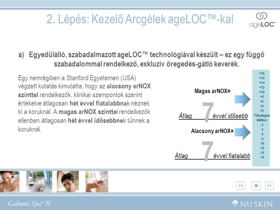 2. Lépés: Kezelő Arcgélek ageLOC™-kal a)Egyedülálló, szabadalmazott ageLOC™ technológiával készült – ez egy függő szabadalommal rendelkező, exkluzív ö