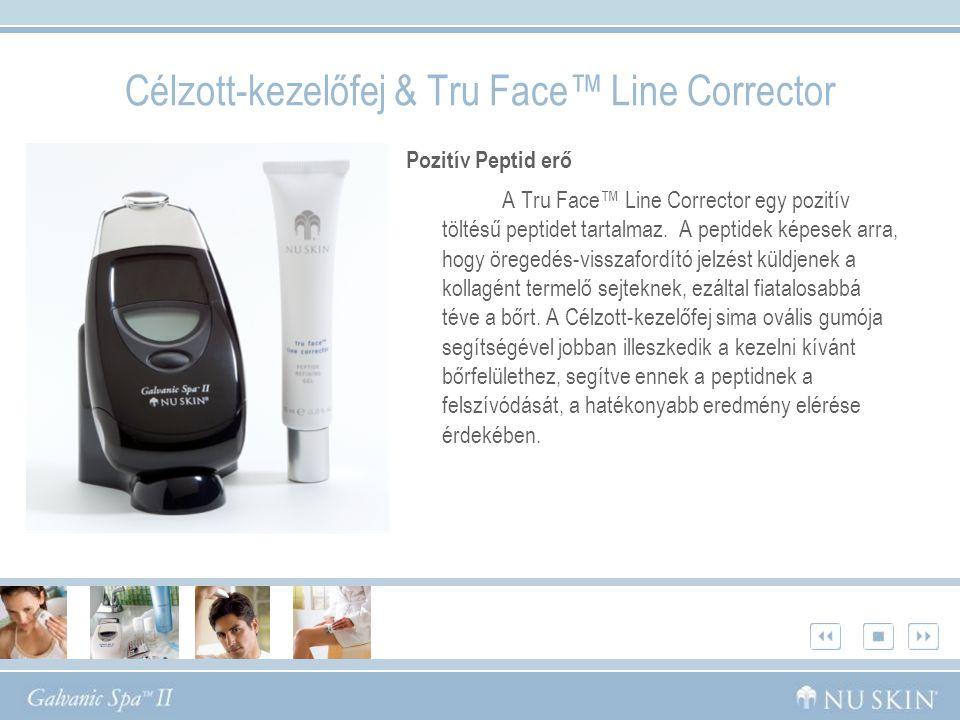 Célzott-kezelőfej & Tru Face™ Line Corrector Pozitív Peptid erő A Tru Face™ Line Corrector egy pozitív töltésű peptidet tartalmaz.