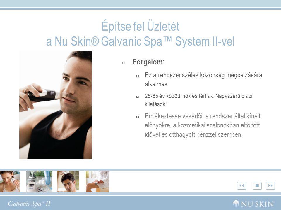 Építse fel Üzletét a Nu Skin® Galvanic Spa™ System II-vel  Forgalom:  Ez a rendszer széles közönség megcélzására alkalmas.  25-65 év közötti nők és