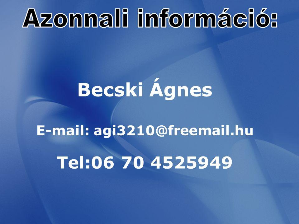 Becski Ágnes E-mail: agi3210@freemail.hu Tel:06 70 4525949