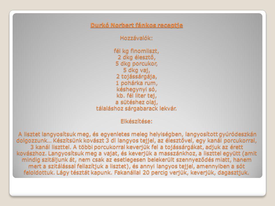 Durkó Norbert fánkos receptje Hozzávalók: fél kg finomliszt, 2 dkg élesztő, 5 dkg porcukor, 5 dkg vaj, 2 tojássárgája, 1 pohárka rum, késhegynyi só, k