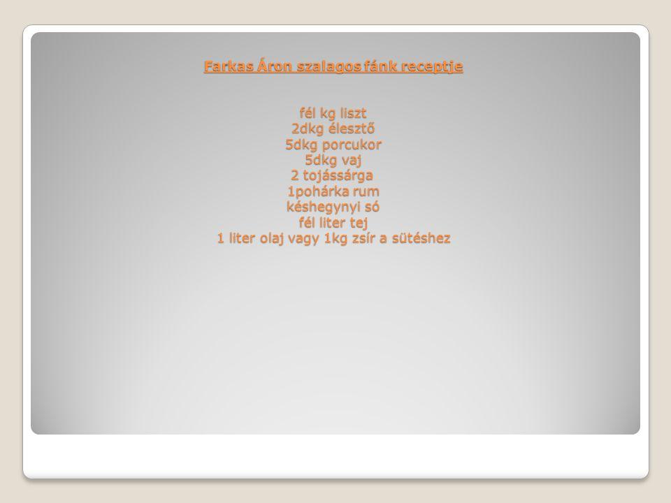 Farkas Áron szalagos fánk receptje fél kg liszt 2dkg élesztő 5dkg porcukor 5dkg vaj 2 tojássárga 1pohárka rum késhegynyi só fél liter tej 1 liter olaj
