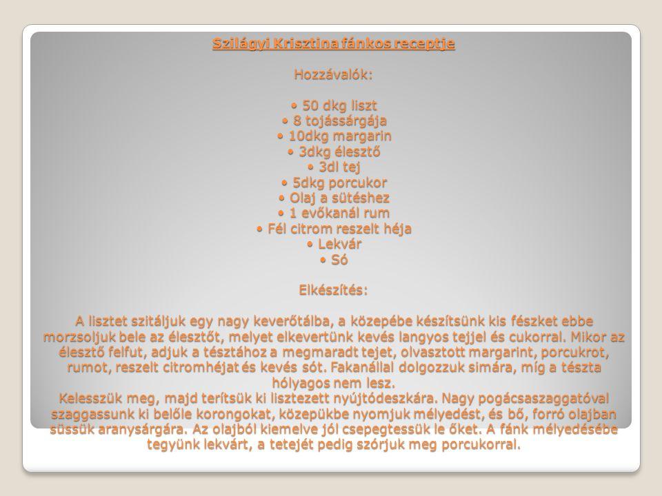 Szilágyi Krisztina fánkos receptje Hozzávalók: • 50 dkg liszt • 8 tojássárgája • 10dkg margarin • 3dkg élesztő • 3dl tej • 5dkg porcukor • Olaj a süté