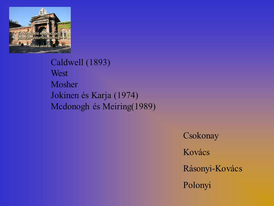 Caldwell (1893) West Mosher Jokinen és Karja (1974) Mcdonogh és Meiring(1989) Csokonay Kovács Rásonyi-Kovács Polonyi