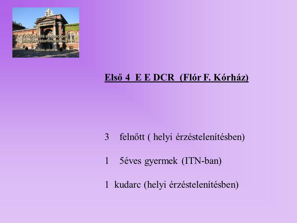 14 betegen 16 endonasalis DCR 7 reoperatio (2 endonasalis DCR után) 8 ITN-ban, 8 helyi érzéstelenítésben 2 septumresectio 6 endoscop nélkül 10 endoscop segítégével