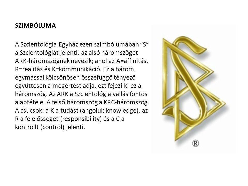 """SZIMBÓLUMA A Szcientológia Egyház ezen szimbólumában """"S"""" a Szcientológiát jelenti, az alsó háromszöget ARK-háromszögnek nevezik; ahol az A=affinitás,"""