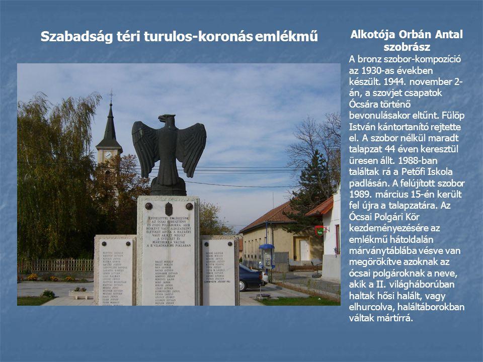 Alkotója Orbán Antal szobrász A bronz szobor-kompozíció az 1930-as években készült.