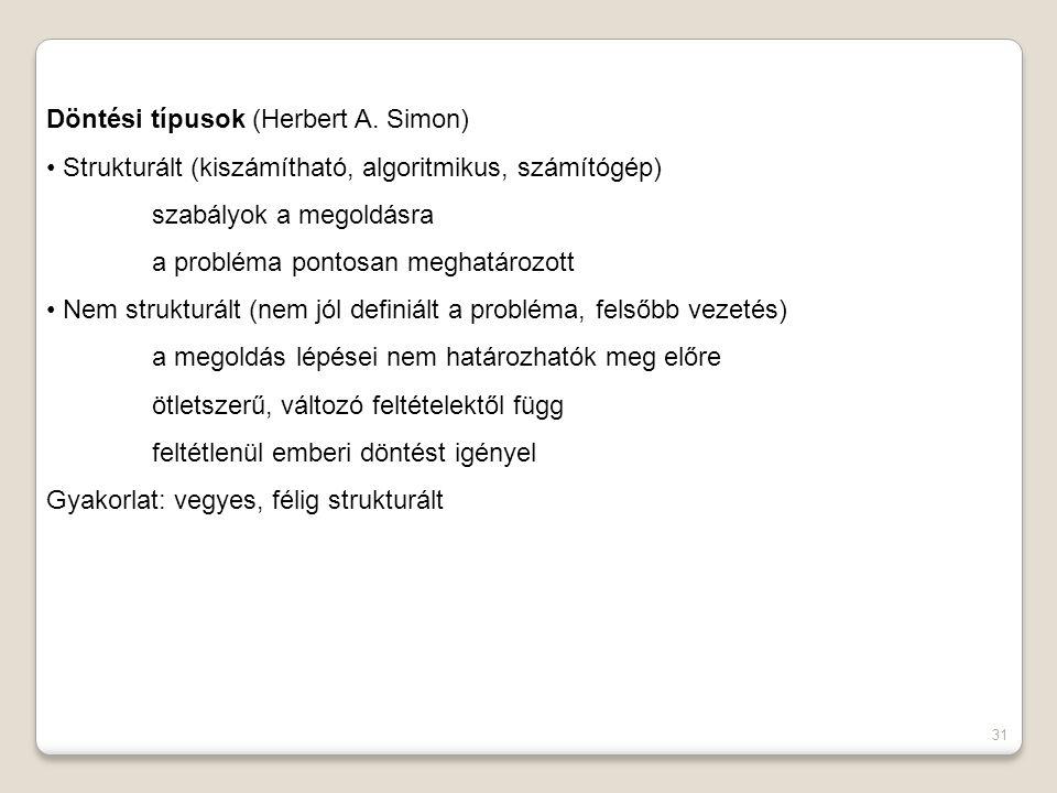 31 Döntési típusok (Herbert A.