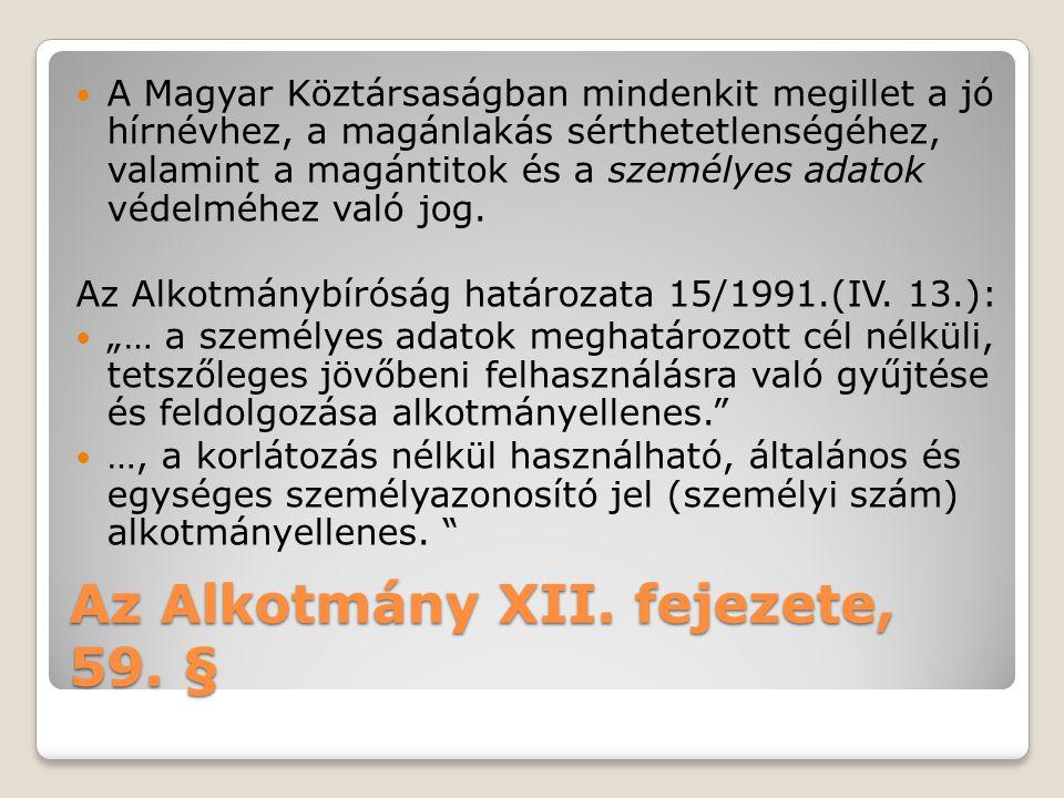 Az Alkotmány XII.fejezete, 59.