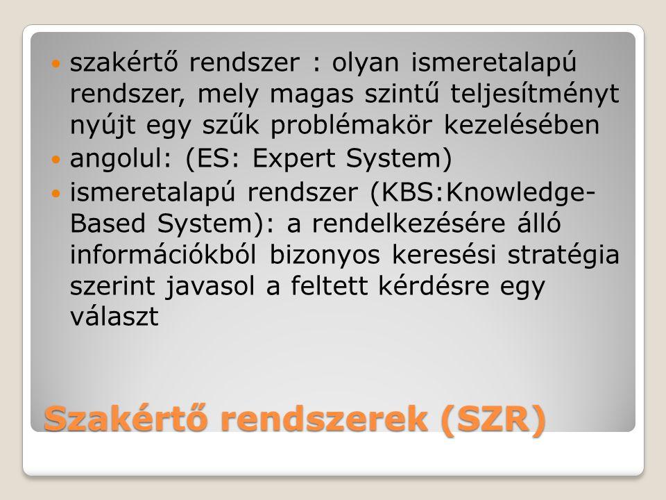 Szakértő rendszerek (SZR)  szakértő rendszer : olyan ismeretalapú rendszer, mely magas szintű teljesítményt nyújt egy szűk problémakör kezelésében  angolul: (ES: Expert System)  ismeretalapú rendszer (KBS:Knowledge- Based System): a rendelkezésére álló információkból bizonyos keresési stratégia szerint javasol a feltett kérdésre egy választ