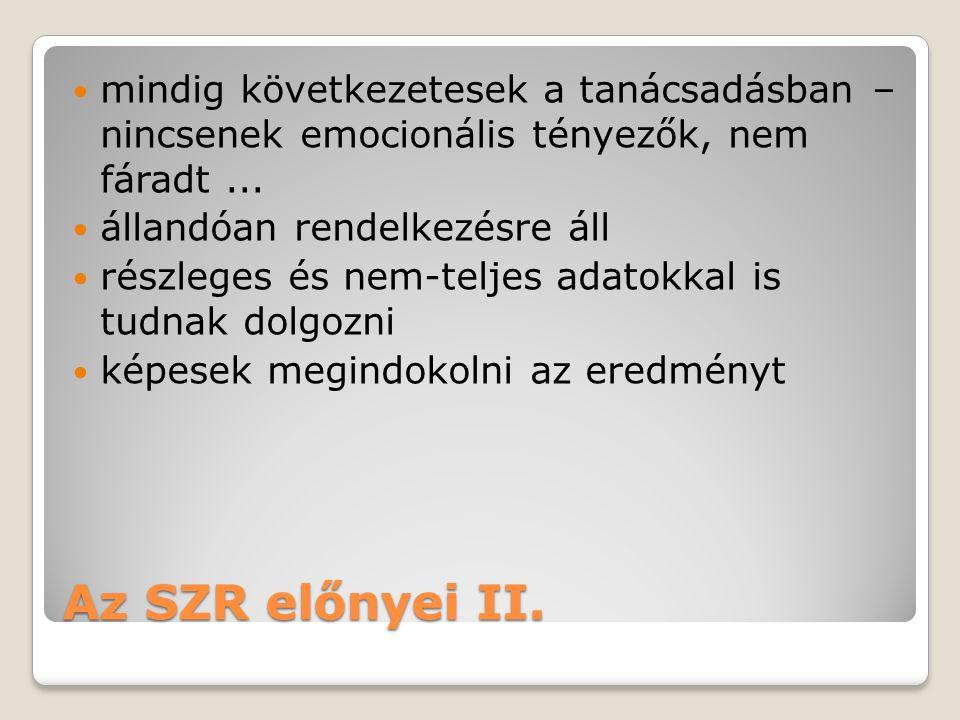 Az SZR előnyei II.