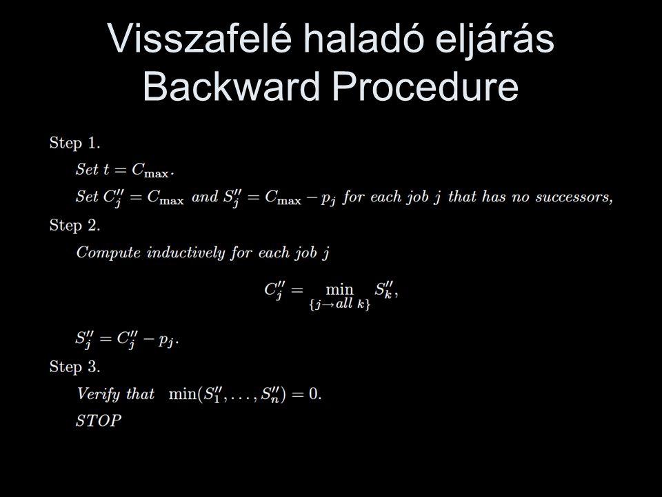 Magyarázat •A forward procedure megadja az S j ' megengedett legkorábbi indítási időpontját minden feladatnak.
