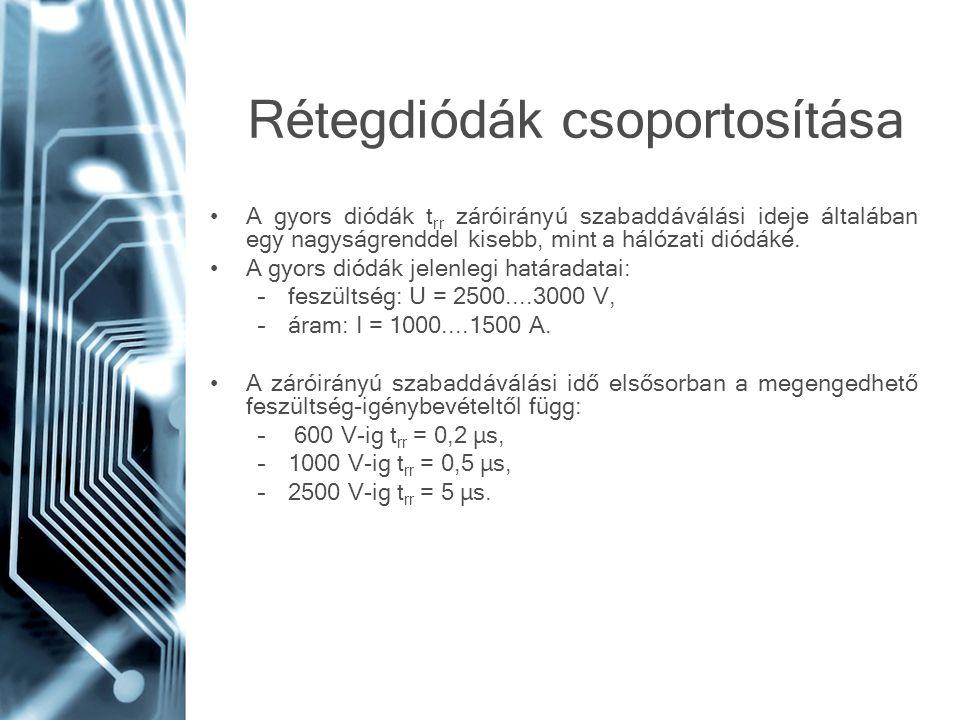 Rétegdiódák csoportosítása •A gyors diódák t rr záróirányú szabaddáválási ideje általában egy nagyságrenddel kisebb, mint a hálózati diódáké. •A gyors