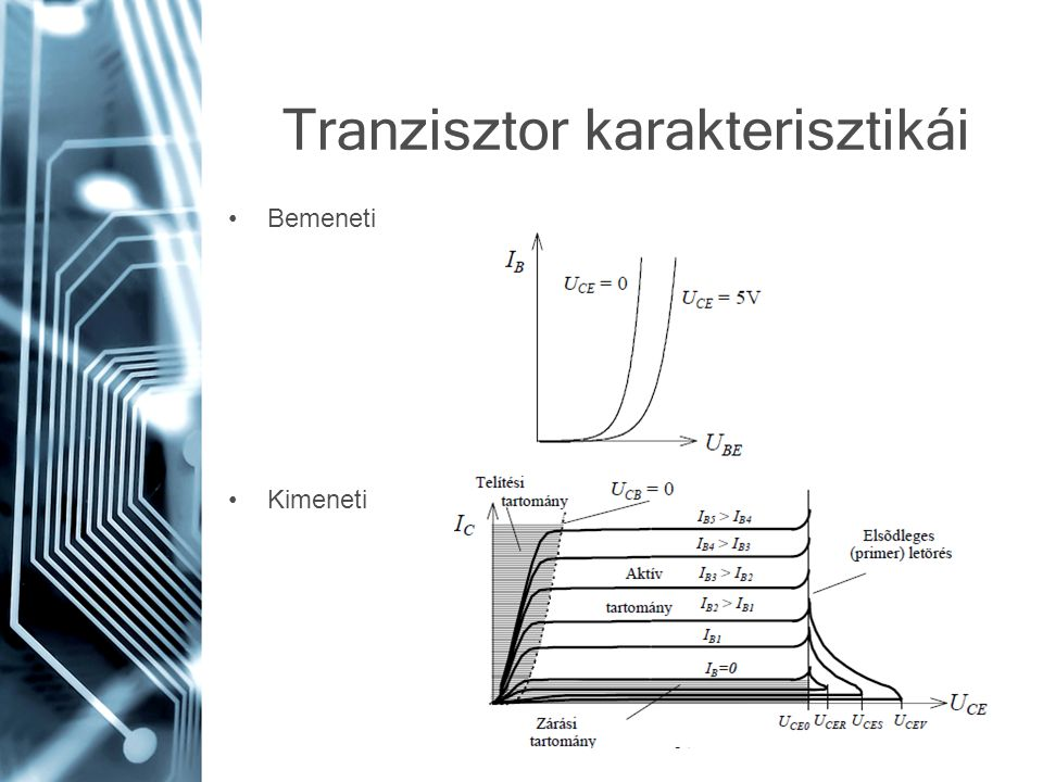 Tranzisztor karakterisztikái •Bemeneti •Kimeneti