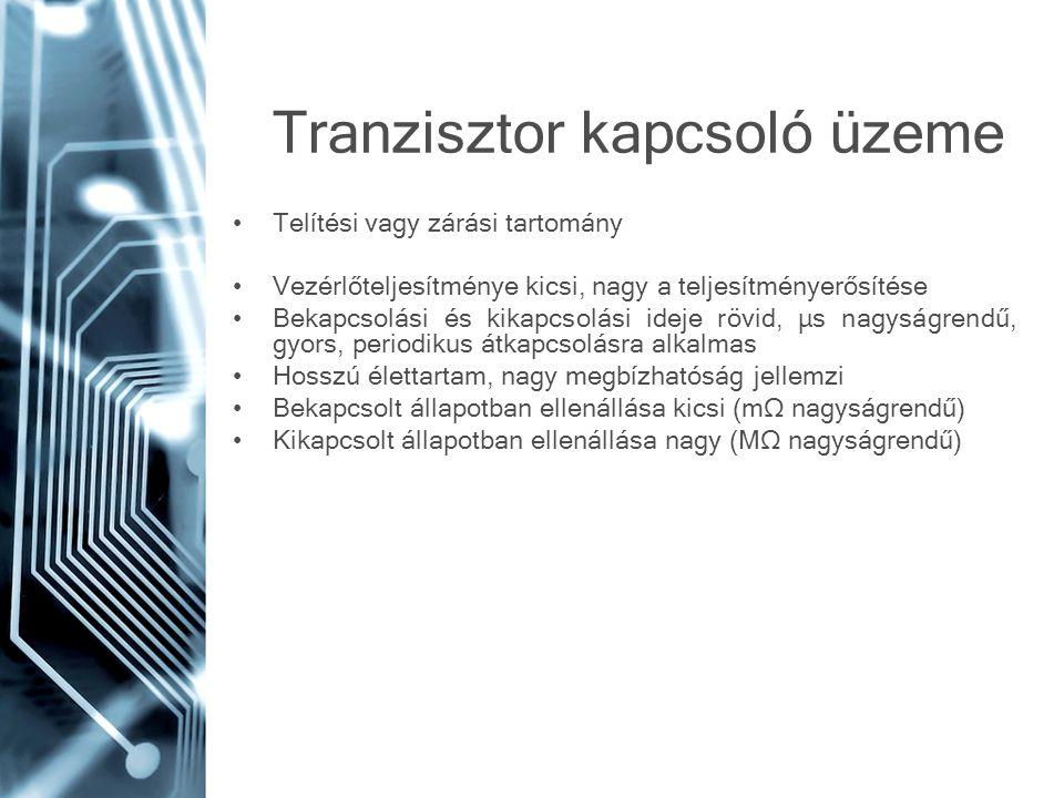 Tranzisztor kapcsoló üzeme •Telítési vagy zárási tartomány •Vezérlőteljesítménye kicsi, nagy a teljesítményerősítése •Bekapcsolási és kikapcsolási ide