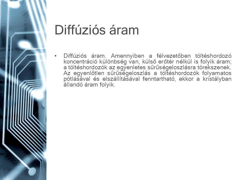 Diffúziós áram •Diffúziós áram. Amennyiben a félvezetőben töltéshordozó koncentráció különbség van, külső erőtér nélkül is folyik áram; a töltéshordoz