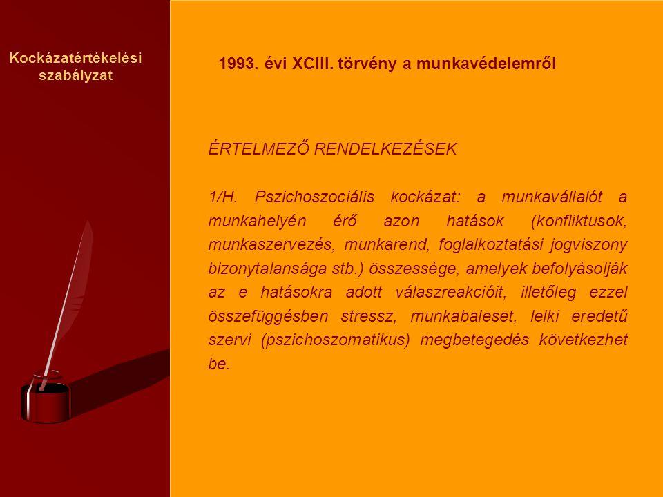 Kockázatértékelési szabályzat ÉRTELMEZŐ RENDELKEZÉSEK 1/H.