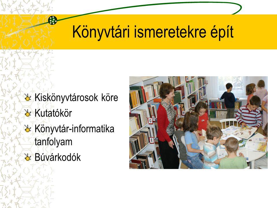 Könyvtári ismeretekre épít Kiskönyvtárosok köre Kutatókör Könyvtár-informatika tanfolyam Búvárkodók