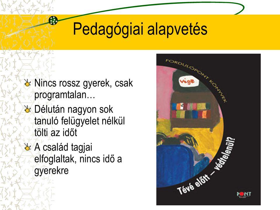 Pedagógiai alapvetés Nincs rossz gyerek, csak programtalan… Délután nagyon sok tanuló felügyelet nélkül tölti az időt A család tagjai elfoglaltak, nincs idő a gyerekre