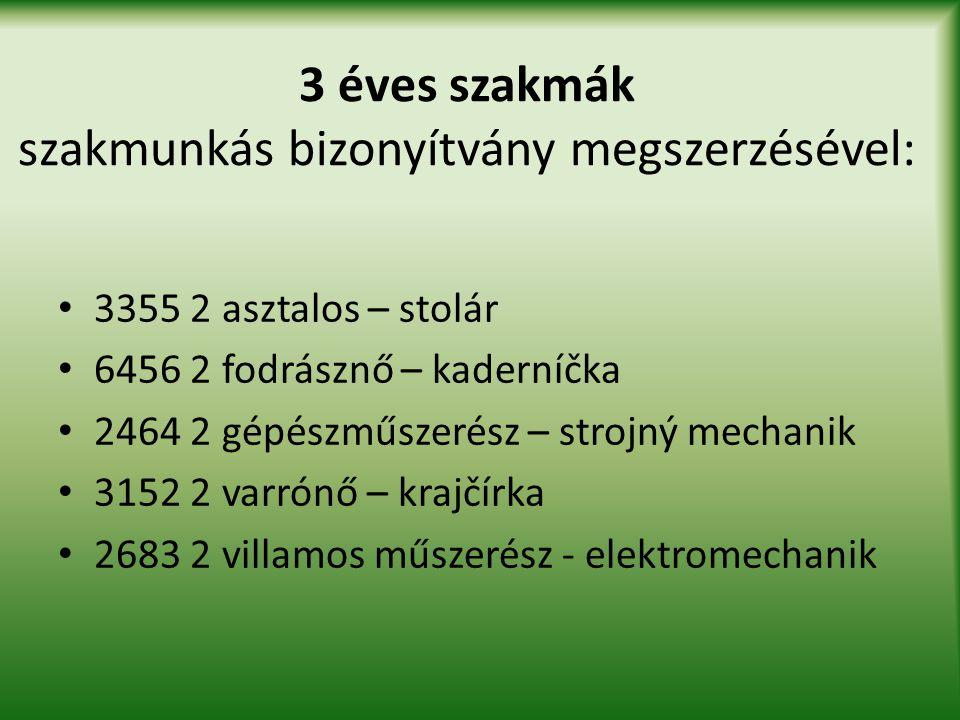 3 éves szakmák szakmunkás bizonyítvány megszerzésével: • 3355 2 asztalos – stolár • 6456 2 fodrásznő – kaderníčka • 2464 2 gépészműszerész – strojný m
