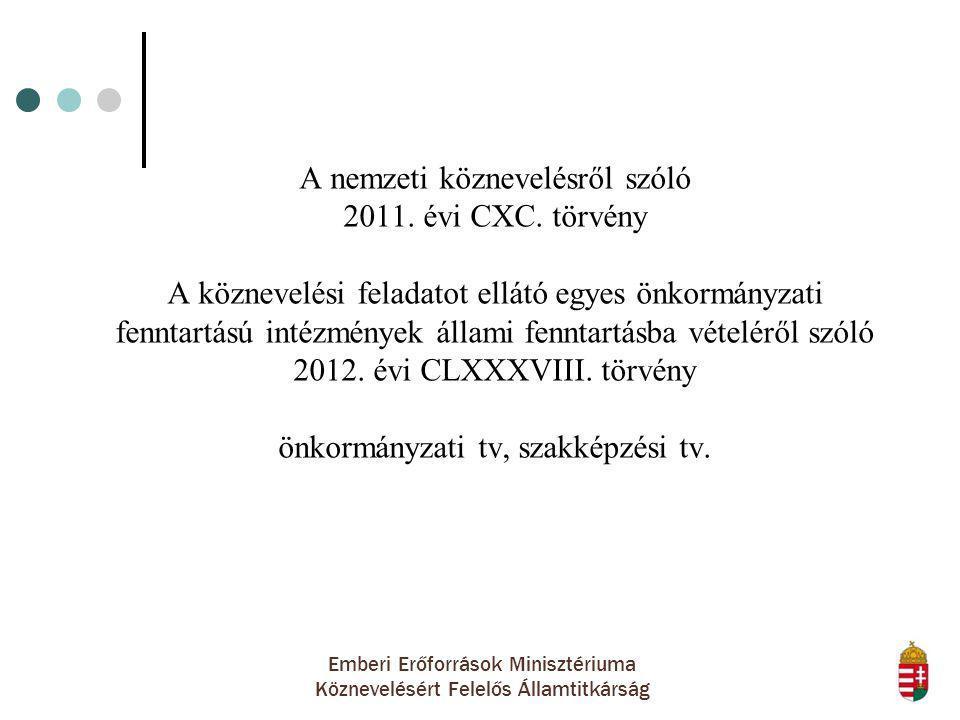 Emberi Erőforrások Minisztériuma Köznevelésért Felelős Államtitkárság A nemzeti köznevelésről szóló 2011. évi CXC. törvény A köznevelési feladatot ell