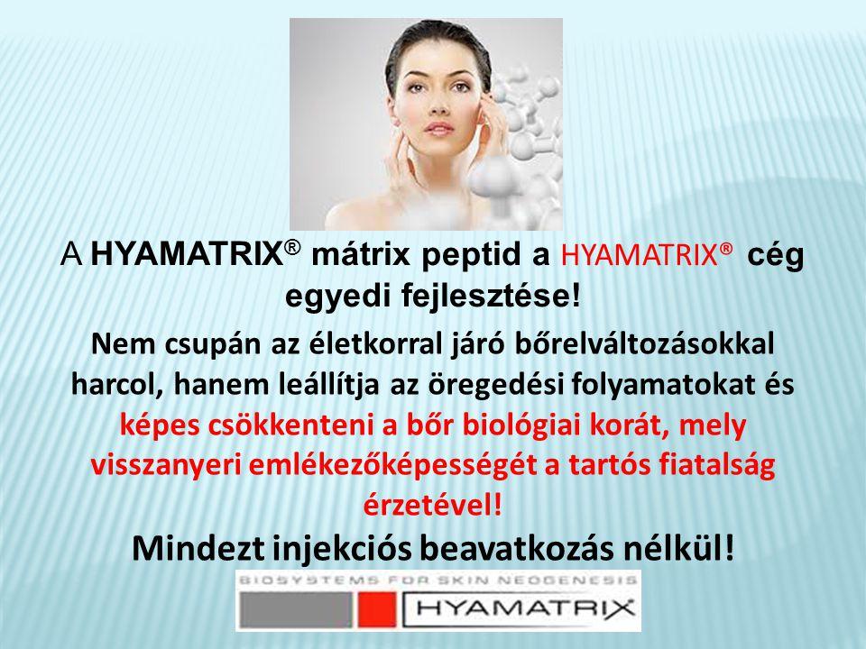 HYAMATRIX® kezelés  tűs eljárást nem igényel  a bőr struktúrája megváltozik  a pigment foltok halványodnak  az arckontúr megváltozik  a szemöldök megemelkedik  a bőr rugalmassá válik A kezelés célja: hidratálás, regeneráció, a bőr újramodellezése.