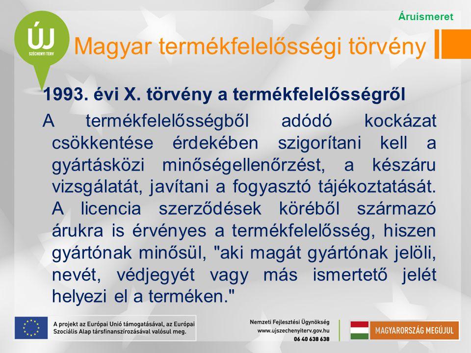 Magyar termékfelelősségi törvény 1993. évi X. törvény a termékfelelősségről A termékfelelősségből adódó kockázat csökkentése érdekében szigorítani kel