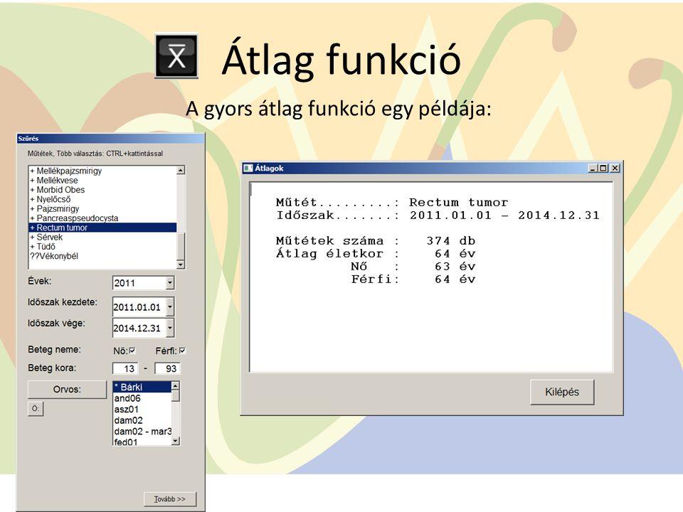 Átlag funkció A gyors átlag funkció egy példája: