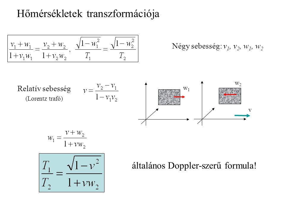 Négy sebesség: v 1, v 2, w 1, w 2 Hőmérsékletek transzformációja v w2w2 w1w1 Relatív sebesség (Lorentz trafó) általános Doppler-szerű formula!