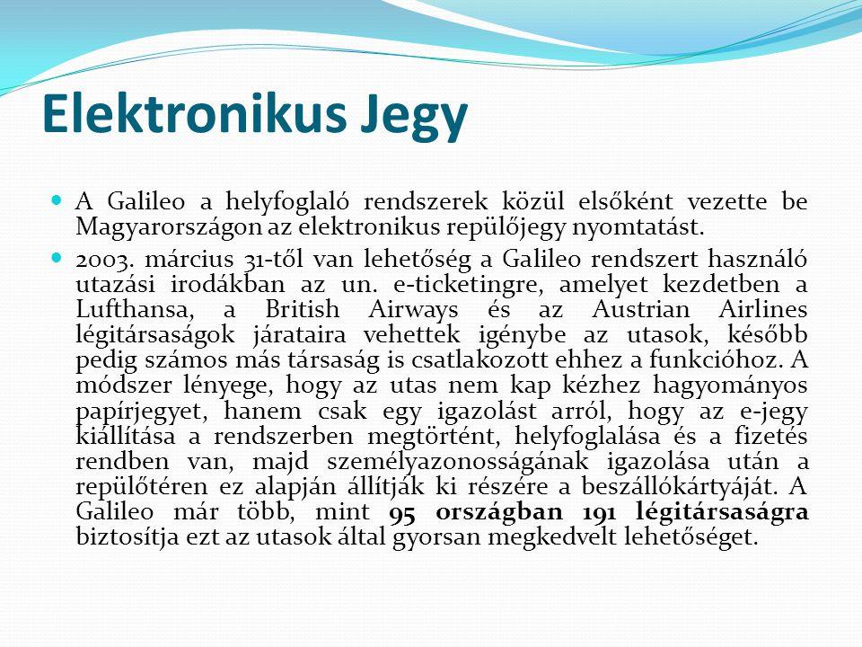 Elektronikus Jegy  A Galileo a helyfoglaló rendszerek közül elsőként vezette be Magyarországon az elektronikus repülőjegy nyomtatást.  2003. március