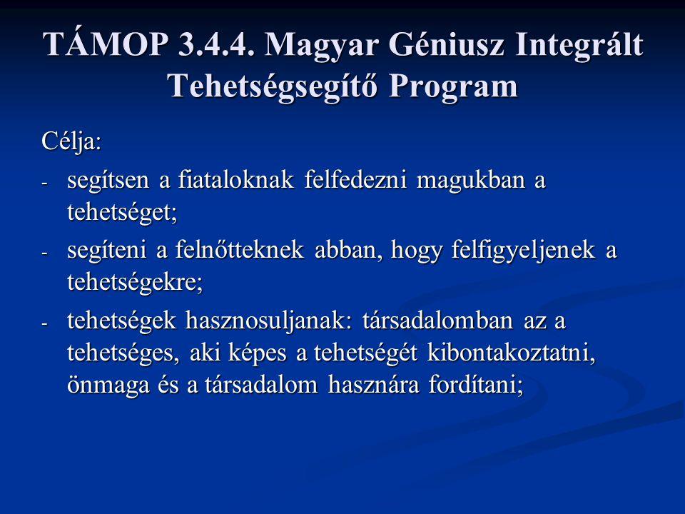 TÁMOP 3.4.4. Magyar Géniusz Integrált Tehetségsegítő Program Célja: - segítsen a fiataloknak felfedezni magukban a tehetséget; - segíteni a felnőttekn