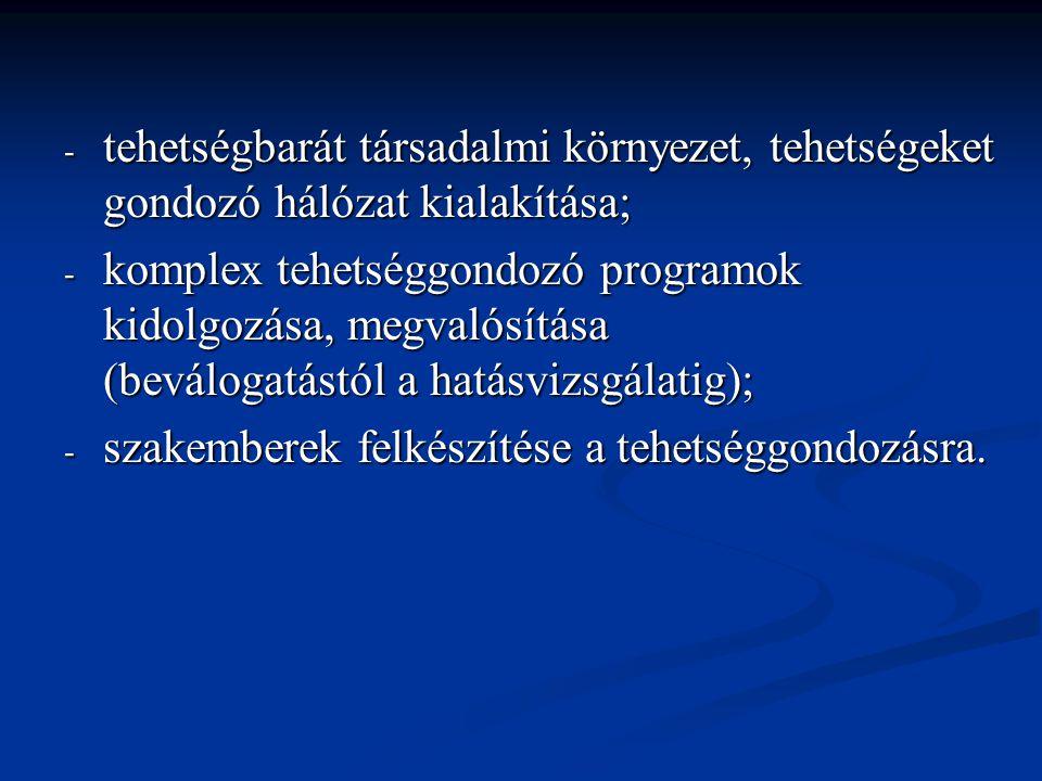- tehetségbarát társadalmi környezet, tehetségeket gondozó hálózat kialakítása; - komplex tehetséggondozó programok kidolgozása, megvalósítása (beválo