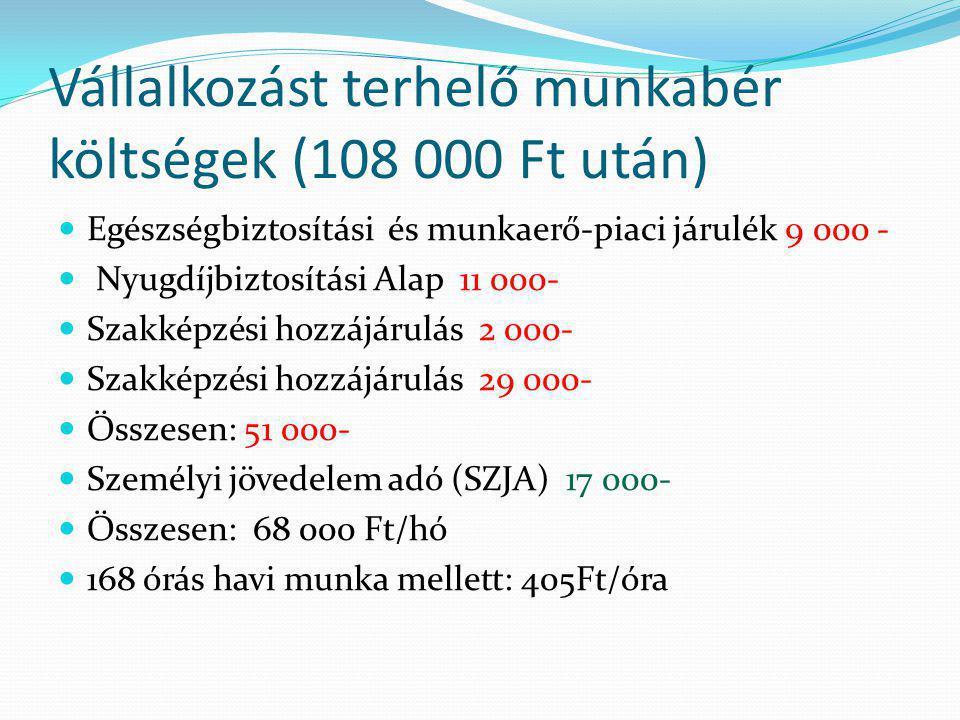 Vállalkozást terhelő munkabér költségek (108 000 Ft után)  Egészségbiztosítási és munkaerő-piaci járulék 9 000 -  Nyugdíjbiztosítási Alap 11 000-  Szakképzési hozzájárulás 2 000-  Szakképzési hozzájárulás 29 000-  Összesen: 51 000-  Személyi jövedelem adó (SZJA) 17 000-  Összesen: 68 000 Ft/hó  168 órás havi munka mellett: 405Ft/óra