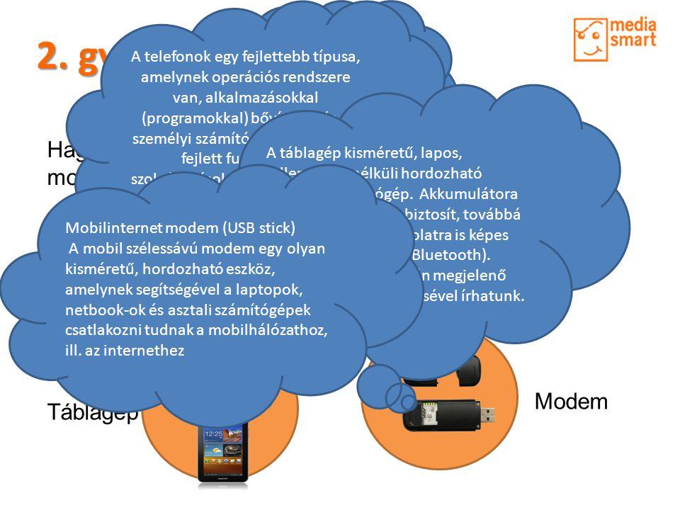 2. gyakorlat - Eszközök Hagyományos mobiltelefon Táblagép Okostelefon Modem A mobiltelefon egy hordozható eszköz, amely a mikrohullámú kommunikációs h