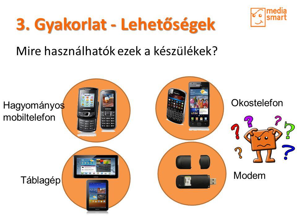 3. Gyakorlat - Lehetőségek Mire használhatók ezek a készülékek.